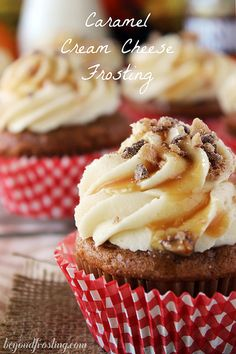 "? Caramel Cream Cheese Frosting (beyondfrosting). ""Thick enough to where it holds a good shape....smooth enough that it practically melts in your mouth and has the sweetness of gooey caramel."" OH MY #cupcakes #cupcakeideas #cupcakerecipes #food #yummy #sweet #delicious #cupcake"
