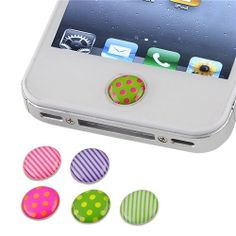 """Home"" Button Sticker for iPhone/iPad/iTouch, Rainbow Pattern, 6 Stickers"