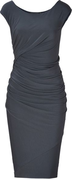 Carbon Cap Sleeve Draped Jersey Dress
