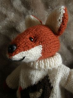 Adorable Henry the Fox knitted toy Knitted fox toy by cardsbyjane