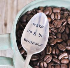 Wake Up & BE AWESOME (TM) Vintage Hand Stamped Coffee Spoon from jessicaNdesigns