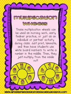 These multiplication wheels are great for using in math centers or as partner activity. There are 4 multiplication wheels included.