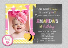 Bee Birthday Invitation Bumble Bee by The Trendy Butterfly #bumblebee #beeinvitation #pink #yellow #chalkboard