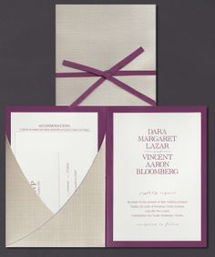 Our Raspberry Mesh Neckline pocket folder invitation suite is shown here thermography printed with raspberry ink.