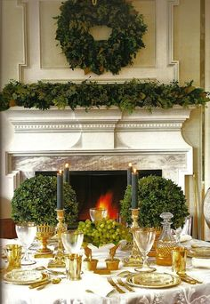 winter by the fire by carolyne roehm christmas wreaths, table settings, holiday, green christmas, christmas tables, christma tabl, christmas decorations, christma decor, carolyn roehm