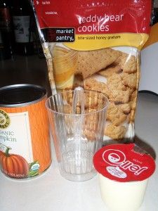 Pumpkin pie in a cup - You will need per chef. 1 Pudding cup, 2 Tbls of Pumpkin Puree, crushed graham crackers or Teddy Grahams for dipping, spoon, cup large enough to mix.