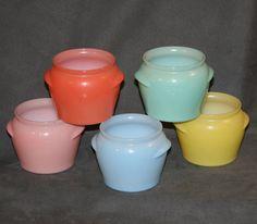 Five Glasbake Glasbake Baked Apple pots or bean pots