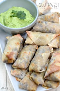 Baked southwest egg rolls & avocado dip. So much flavor and easy to whip up! #appetizer