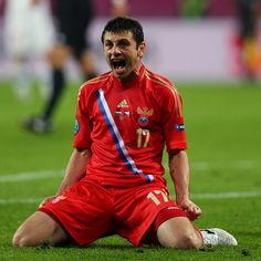 Alan Dzagoev of Russia celebrates after scoring their third goal during the UEFA EURO 2012 Group A match against the Czech Republic