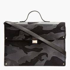 Navy Leather Camo Print Briefcase by Valentino