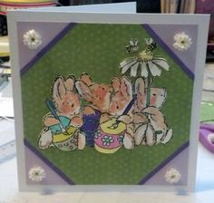 Easter Card with Quilled Flowers Watercolor by SarasPaperPretties, $8.50