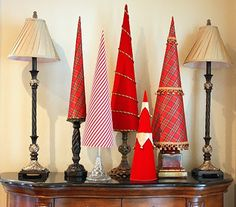 Fabric-covered Poster Board Christmas Trees