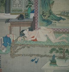 Signed leaf from erotic album. The recessed area at left and the familiar combination of qin, official's cap, and hastily-removed clothes, the blue-and-green landscape on the screen and the pencai or tray-landscapes on the foreground table, all belong to the distinctive type of interior scene invented by Gu Jianlong.