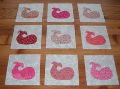 Set of 9 Pink Whale Fish Quilt Blocks | eBay