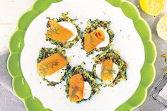 Courgette and dill fritters with creme fraiche