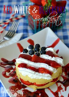 Red, White, and Blueberry Breakfast | MomOnTimeout.com Perfect for Memorial Day weekend or the 4th of July!