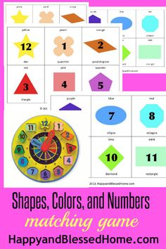 preschool-activities-shapes-colors-numbers-matching-game - Happy and Blessed Home @Monica Forghani Forghani Pruett