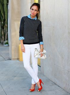 Sydney Summer of Sydne Style wearing a LOFT polka dot sweater and LOFT polka dot softened shirt