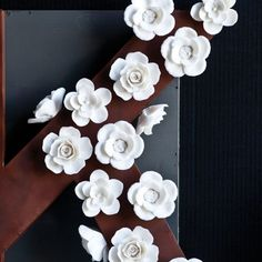 White Floral Magnets