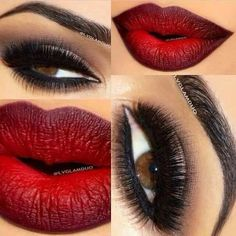 Oh i just love this ombre red lip and dark eye makeup..stunning.