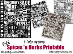Free Subway Art Printables: Spices