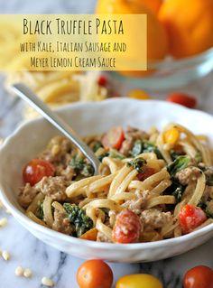 Black Truffle Pasta with Kale, Italian Sausage and Meyer Lemon Cream Sauce