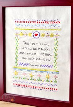 Trust in the Lord - Intermediate Sampler - 100% Cotton Embroidery Pattern. $12.00 USD, via Etsy.