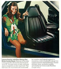 1973 Chevrolet Laguna Interior. How come nobody's made swivel seats since the '70s? I had a 74 Chevelle with swivel buckets, I sure miss that car. had 8 track tape deck, 1/2 vinyl top (landau top) white on white, sun spoke wheels w/ Dunlop raised white letter tires. chrome bumpers and trim it shined like a new penny.