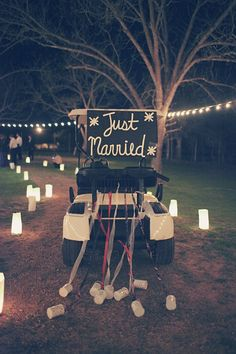 Cute way to drive around for pictures after the ceremony! #pgaweddings #justmarried