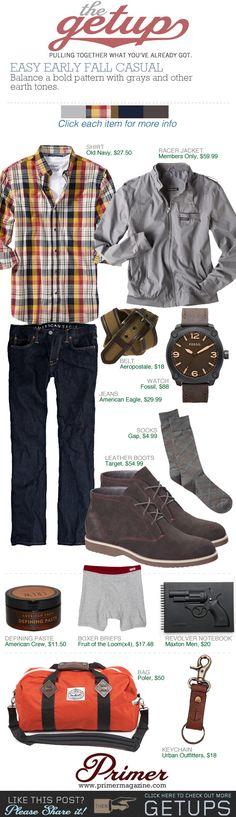 The Getup: Easy Early Fall Casual   Primer fall casual, casual men's clothes, men style, men cloth, mens fall fashion casual, easi earli, men fashion, getup, earli fall