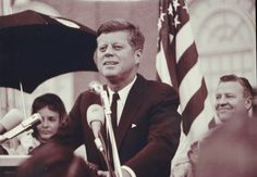This photograph of President John F. Kennedy giving a speech on the parking lot of the Hotel Texas is part of a display of the Fort Worth St...
