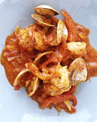 Fish Stew with Peppers, Almonds and Saffron Recipe on Food & Wine - for your strict days omit the wine - replace with a veggie or chicken stock