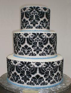 white design, patterns, beauti cake, cake idea, blue, wedding cake designs, damask print, white weddings, white wedding cakes