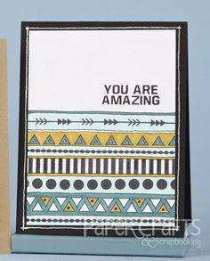 Combine stamp sets and hand drawn accents to create a trendy design; Cassie D'Ambrosio - Paper Crafts & Scrapbooking August 2014: card making, stamping, Native American designs