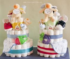 Twins Diaper Cake!! by www.fancyparties.es #diapercake #twins