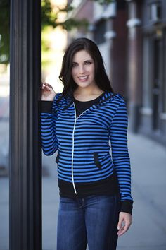 Stylish Comfort - Stripe Zip #hoodie Perfect for the upcoming season! Classic stripes style a zip hoodie with an over-sized hood and spacious front pockets. Wide matching solid color waistband. pickyourplum.com