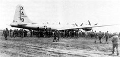"""B-29 """"Dinah Might"""" was the first B-29 bomber to make an emergency landing on Iwo Jima during WWII."""