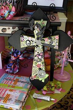 project, idea, sparkl, pretti cross, crafti, button, diy decorating crosses, craft cross