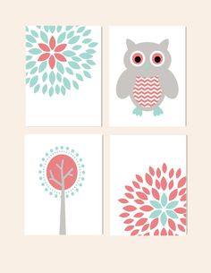 Nursery Wall Decor Prints for Girls Nursery Owl Tree Flower Blossoms