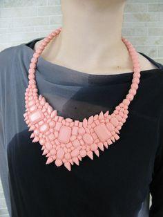 silicone gemstone necklace - pink