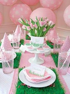 "Love pink & green! This makes me want to sing ""I love Chi Omega Pi . . .""heehee ~Tablescape by Kate Landers"