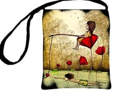 Essentials Handbag Waiting For True Love Red Poppies Whimsical Purse, Lavennz Ooi Sin Yee Artwork  $27.50