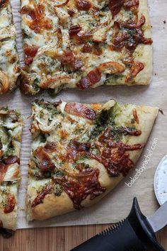 Bacon-Basil Pesto and Chicken Pizza Recipe from bakedbyrachel.com Perfect for pizza night.. Might make this a bit easier by purchasing Trader Joes pizza dough in the refrigeration section.