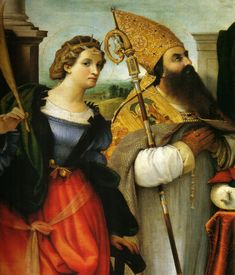 Catherine of Alexandria and St. Augustine, 16th century Milanese altarpiece.