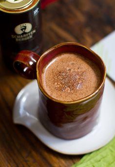 Dark Chocolate Maple Cocoa recipe: 8-10 ounces dairy or non-dairy milk, 1 Tbsp. dark chocolate cacao powder, 1-2 Tbsps. maple syrup, pinch of cinnamon, 2-3 dashes cayenne, pinch of salt