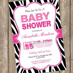 Girl Baby Shower Invitation Hot Pink and Black Zebra Baby Shower Invitation Printable Personalized 20130116-K1-1