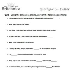 KS2 Easter quiz. Use this fun Easter quiz from the Encyclopaedia Britannica to celebrate Easter in your classroom.