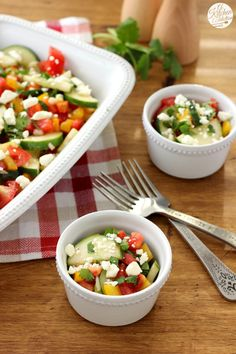Easy Cucumber Tomato Salad Recipe from A Kitchen Addiction [serves 8]