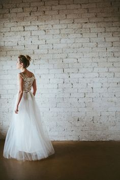 Gold Sequined Cap Sleeved Floor Length Tulle Gown  Dreams by ouma, $900.00