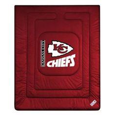 Sports Coverage 01JRCOM1CHITWIN Locker Room Kansas City Chiefs Twin Comforter in Bright Red